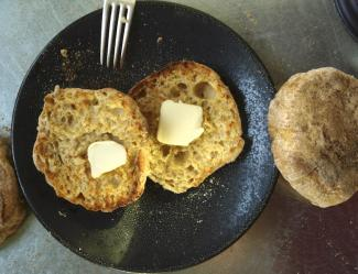English muffin with melting butter